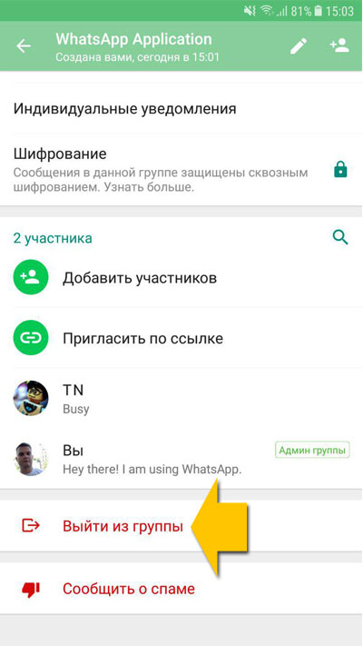 Покинуть группу в WhatsApp